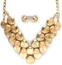 Chunky V Neck Bib Gold Tone Texture Metal Fashion Necklace Set Jewelry