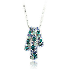 14k white Gold GF aqua crystals necklace pendant with Swarovski elements
