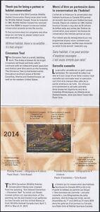 Canada 2014 Canard Tampon Mint En Dossier Comme Publié Cannelle Bleu Sarcelle