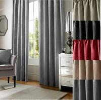 1 PAIR PLAIN CHENILLE CHLOE FULLY LINED EYELET OR PENCIL PLEAT CURTAINS