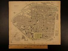 1844 BEAUTIFUL Huge Color CITY MAP of Brussels Belgium Bruxelles Flanders ATLAS