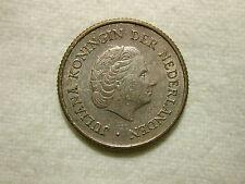 1954 1/4 Gulden, Netherlands Antilles, Silver Coin KM #4 ASW .0736 /AU