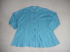 Womens Blouse-ITEMZ by CHRIS BAUMGARTNER-blue linen 3/4 slvs-XL
