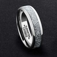 6MM Silver Men's Tungsten Carbide Ring Middle Meteorite Wedding Engagement Bands