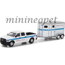 GREENLIGHT 32110 D 2017 DODGE RAM PICK UP & TRAILER CHICAGO POLICE 1/64 WHITE