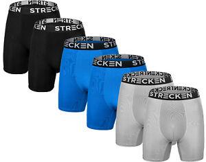 STRECKEN 6 PK Performance Boxer Briefs-MEN Ideal For Gym ALL-ASST -Size S-2XL