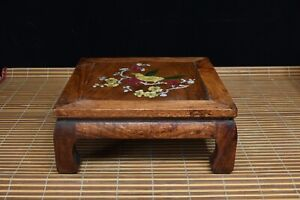 Chinese Boxwood Handcarved Exquisite Flower & Birds Tea Table 16520