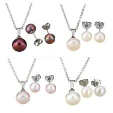 Stainless Steel Women Natural Freshwater Pearl Earrings Necklace Jewelry Set