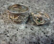 J.B. Sterling Silver 925 Emerald Green Claddagh Ring Ireland Irish Wedding Set