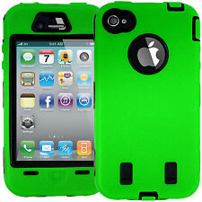 LIGHT GREEN HARD Shock Bullet Proof CASE + Screen Protectors for IPHONE 4 Safety