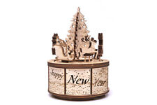 Wood Trick Santa's Carousel Music Box Mechanical Wooden 3D Puzzle DIY Kit Gift