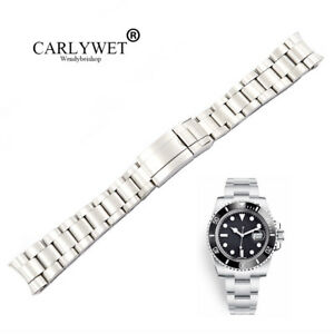 20mm Solid Curve End Silver Brushed Watch Band Oyster Bracelet For Submariner