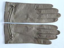 Paire de gants beige en cuir beige Taille 7 FEMME VINTAGE