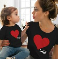 Mother Daughter Clothes Parent-child T-Shirt Heart Dress Family Matching Outfit