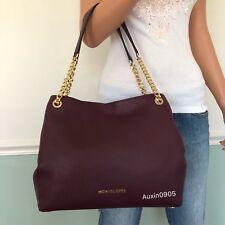 NEW! MICHAEL KORS Gorgeous Pebbled Leather Carryall Tote Shoulder Bag Purse Plum