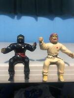 """Lanard Toys Thumb-Fighters Wrestlers 4"""" Figure Lot 1986 Karate Man & Ninja Rare"""