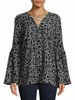 MICHAEL KORS Chain Lace-Up Bell Sleeve Top Black/White Blouse Sz L $110 NWT