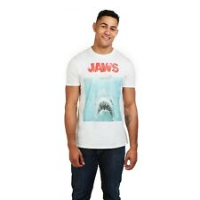 Official Jaws Shark T-Shirt - Mens T-Shirt - Classic Movie Poster Logo - White