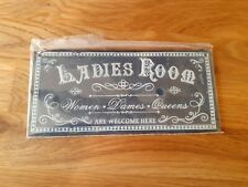 New Ladies Room sign plaque door tin bathroom shabby chic quirky