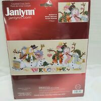 "Janlynn #017-0112 ""Winter Welcome""  Snowmen Counted Cross Stitch Kit Sam Hawkins"