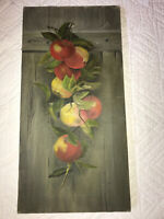 Victorian antique apples hand painted original oil PAINTING Vintage food