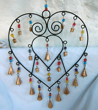 Heart Shape Hand Made Cast Iron & Brass Hanging Multi Bell Wind Chime -  BNIB