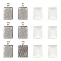 5Sets Alloy Rectangle Pendant Blanks Cameo Bezel Settings with Glass Cabochons