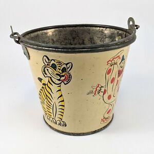 Vintage Metal Tin Sand Pail Bucket Clown Lion Tiger 1960's Litho