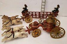 Vintage Cast Iron Horse Drawn Hook & Ladder and Steam Pumper Fire Trucks Nice!
