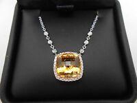 Gorgeous Heavy 18k 750 White Gold Large Citrine & Diamond Halo Pendant Necklace
