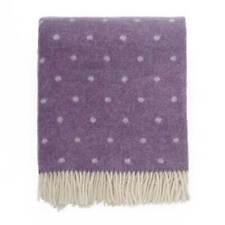 Wool Woollen Dots Purple Thick Sofa Throw Blanket Fringed Bedspread 130x170cm