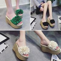 Fashion Women Wedge Platform Heels Sandals Flower Slip On Peep Toe Flip Flops