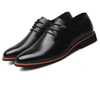 Men Dress Shoes Casual Black Lace Up Pointy Toe Leather Solid Color Pointy Toe