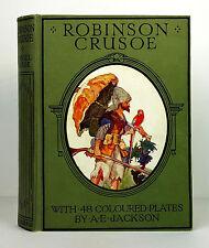 The ADVENTURES of ROBINSON CRUSOE Daniel Defoe 48 Color Plates A E Jackson