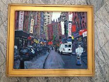 Original Oil Painting New York City Mott Street Signed Ferrante