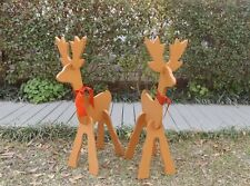 Small Brown Deer Set Christmas Yard Decoration Handmade New