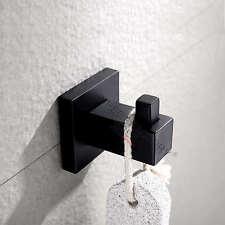 Black Hook Robe Hanger Towel Clothes Holder Stainless Steel Wall Mount Bathroom