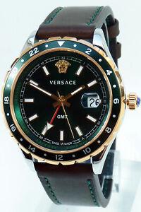 Versace Men's Watch V11090017 HELLENYIUM GMT Swiss Made Wristwatch New