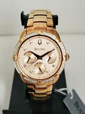 Excellent BULOVA 98R178 REAL DIAMONDS ROSE GOLD 36MM LUXURY WOMEN'S WATCH $550