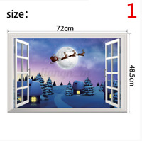 3D Merry Christmas Wall Decals Removable Window Stickers Decor DIY Art Xmas