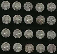 Lot of 20 US Washington Silver Quarters Coins Years: 1943, 1944, 1945