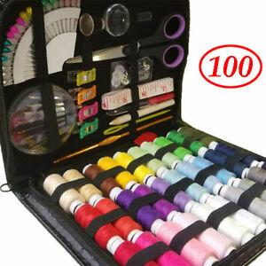 100 Piece Small Home Sewing Kit Needle Thread Tape Scissor Thimble Pins Mini Set