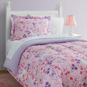 Unicorn Floral 11-Piece Bed in a Bag With Extra Sheet Set