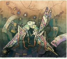Green Grasshoppers, Insects, Ex libris  Free Graphic Etching by Juri Smirnov
