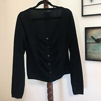 Maurices Women's XL Black Button Front Long Sleeve Scoop Neck Sweater NWOT