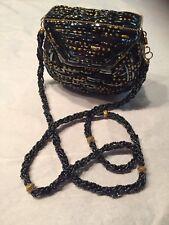 """Vtg '90's Evening Bag Purse Art Glass Barrel Beads Brass Trimmed Clam Shell 5""""x4"""