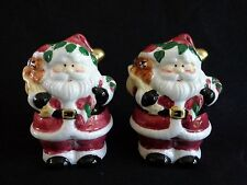"Santa Claus Salt and Pepper Shakers 4"" Toy Sack Ceramic Christmas"