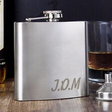 Personalised Engraved Hip flask - Hipflask 6oz with Initial - Weddings Valentine