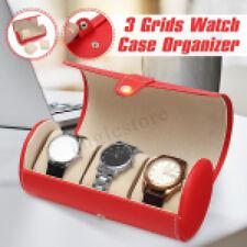 3 Slots Leather Watch Display Case Watches Box Top Jewelry Storage Organizer