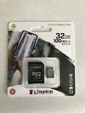 BRAND NEW!!!  Kingston 32GB MicroSD SDHC Class10 Memory Card TF 100MBs w/Adapter